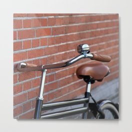 Classic bike and brick wall Metal Print