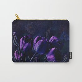 Purple Tulips in a Midnight Garden Carry-All Pouch