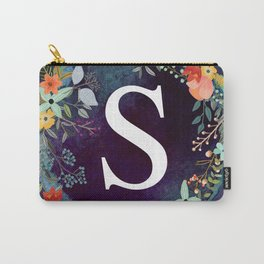 Personalized Monogram Initial Letter S Floral Wreath Artwork Carry-All Pouch