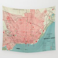 argentina Wall Tapestries featuring Vintage Map of Buenos Aires Argentina (1888) by BravuraMedia