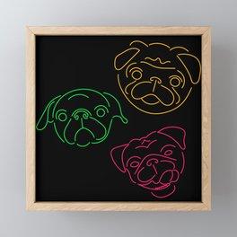 Neon Pugs Framed Mini Art Print