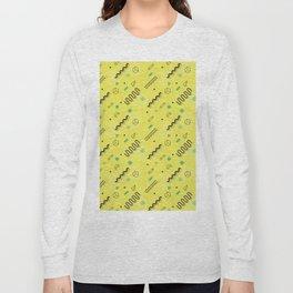 Modern lime green black geometric 80s pattern Long Sleeve T-shirt
