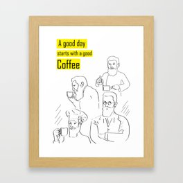 A good day starts with a good coffee (yellow) Framed Art Print