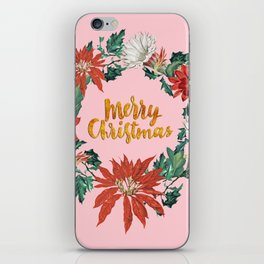 Gold Christmas Poinsettia Floral Wreath on Pink iPhone Skin