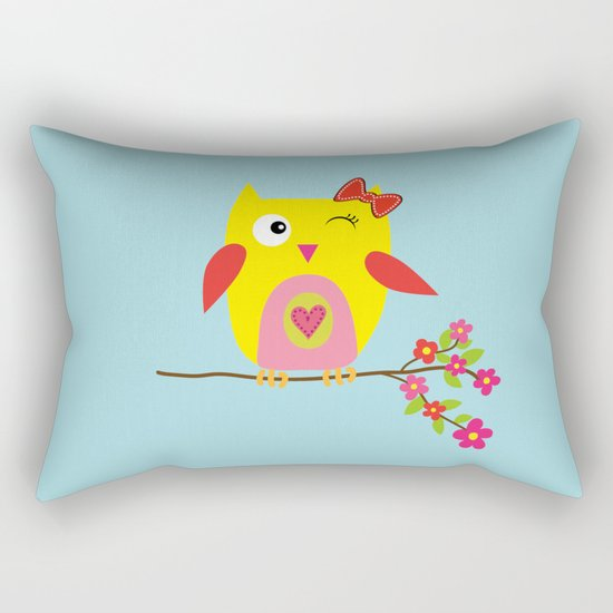 Cute Pillow Illustration : Cute Yellow Owl - Pink Flowers Illustration Rectangular Pillow by PELA Society6