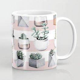 Potted Cactus Stripes Pink Rose Gold Coffee Mug