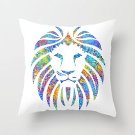 Colorful Watercolor Lion Throw Pillow