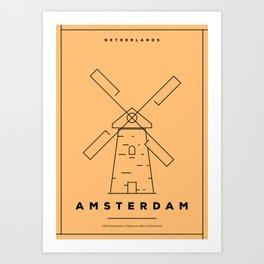Minimal Amsterdam City Poster Art Print