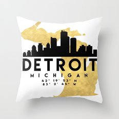DETROIT MICHIGAN SILHOUETTE SKYLINE MAP ART Throw Pillow