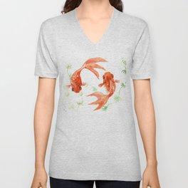Koi Fish, Feng Shui, Goldfish art, Two fish, Unisex V-Neck