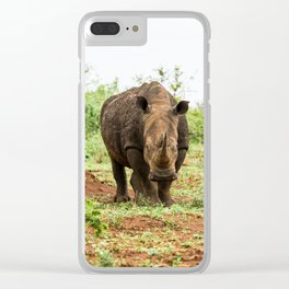 Portrait of white rhino in an open field in South Africa Clear iPhone Case