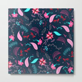 Modern winter bright navy blue pink turquoise teal floral pattern illustration Metal Print