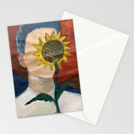 man obscured by sunflower Stationery Cards