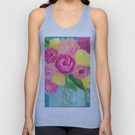 Bouquet of Flowers, Pink and Yellow Flowers, Painting Flowers in Vase Unisex Tank Top