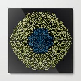 golden and blue mandala Metal Print