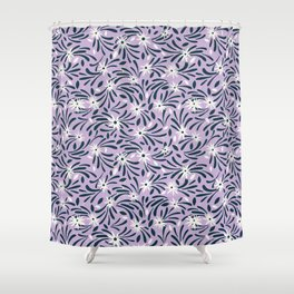 White flowers over a purple background Shower Curtain