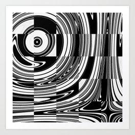 Black White Tiled Art Print