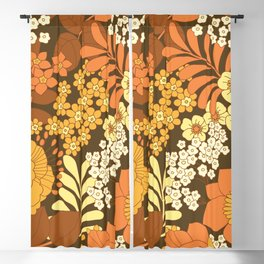 Brown, Yellow, Orange & Ivory Retro Flowers Blackout Curtain