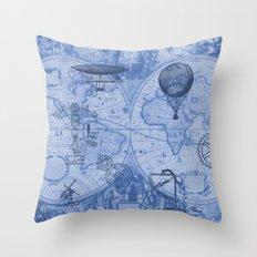 Steampunks in Blue Throw Pillow