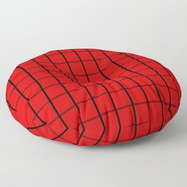 Large Black on Red Grid Pattern | Floor Pillow
