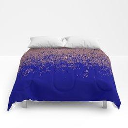 Glamorous Rose Gold Cobalt Blue Glitter Ombre Comforters