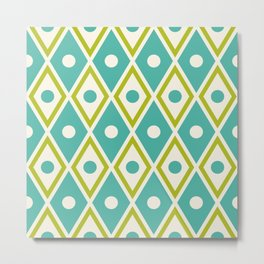 Harlequin Pattern Chartreuse Turquoise Metal Print