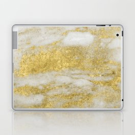 Marble - Glittery Gold Marble and White Pattern Laptop & iPad Skin