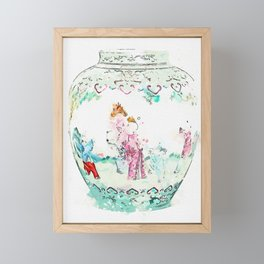 A TURQUOISE-GROUND FAMILLE-ROSE 'BOYS' JAR watercolor by Ahmet Asar Framed Mini Art Print