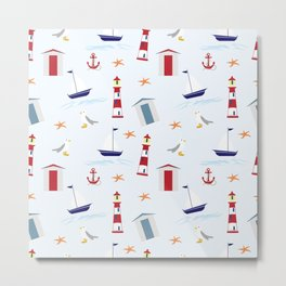 Nautical Pattern (Marine Pattern) - Blue Red White Metal Print