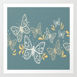 Butterfly White On Blue Background Art Print