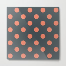 Grey Salmon Pink Polka dots Metal Print