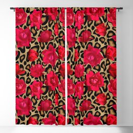 Leopard print with red roses Blackout Curtain