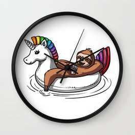 Lazy Sloth Riding Unicorn Float Pool Party Wall Clock