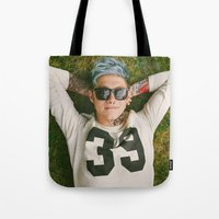 niall horan Tote Bags featuring Niall Horan Punk Edit by Vinny's Edits