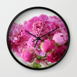 Pink Peonies Romantic Floral Bouquet Wall Clock