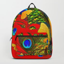 GREEN PEACOCK FEATHERS YELLOW BUTTERFLIES ON  RED ART Backpack