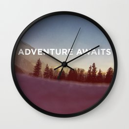 ADVENTURE AWAITS - MOUNTAINS Wall Clock