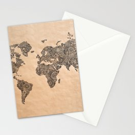 Henna Ink World Map Stationery Cards