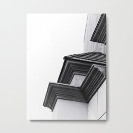 buildings in the city in black and white Metal Print