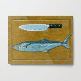 Mackerel on Cutting Board Metal Print