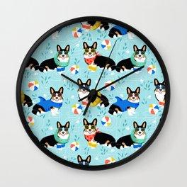 Tri Corgi Pool Party Dog Print beach ball summer pool Wall Clock