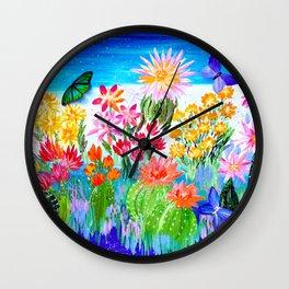 Succulent Garden with Butterflies Wall Clock