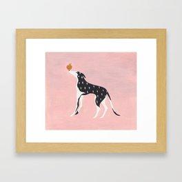 Dog and peach Framed Art Print