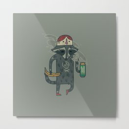 "Raccoon wearing human ""hat"" Metal Print"