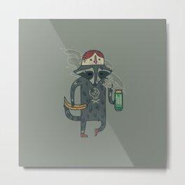"Raccoon wearing human ""hat"" Metal Print"
