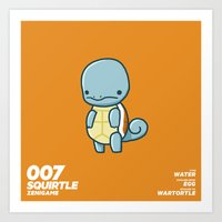 squirtle Art Prints featuring 007 Squirtle by Fightstacy