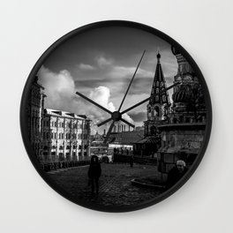 Moscow city in Black and white Wall Clock