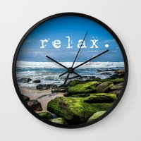 relax Wall Clocks featuring Relax by Michelle McConnell
