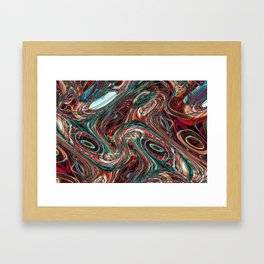 Colorful psychedelic background made of interweaving curved shapes. Illustration Framed Art Print