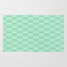 Green Ombre Square Pattern Rug